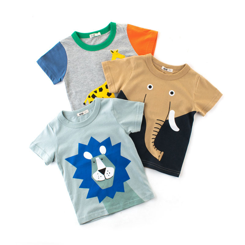 Summer Kids Boys Top Short Sleeve Cartoon Animals Patterns Lion Elephant Giraffe Print Tshirt Cotton Top Children Clothes