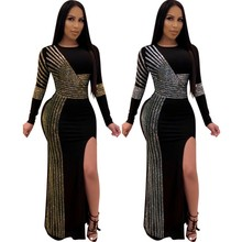 African Maxi Dresses For Women 2020 Black African Long Dress Sequins O Neck Long Sleeves Daily Dress Evening Dress Party Dress