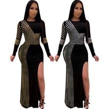 Africano Abiti Maxi per Le Donne 2020 Nero Africano Vestito Lungo Paillettes O Collo Maniche Lunghe Vestito Quotidiano Vestito da Partito Del Vestito da Sera
