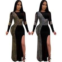 Robes Maxi africaines pour femmes 2020 noir africain robe longue paillettes col rond manches longues robe quotidienne robe de soirée robe de soirée