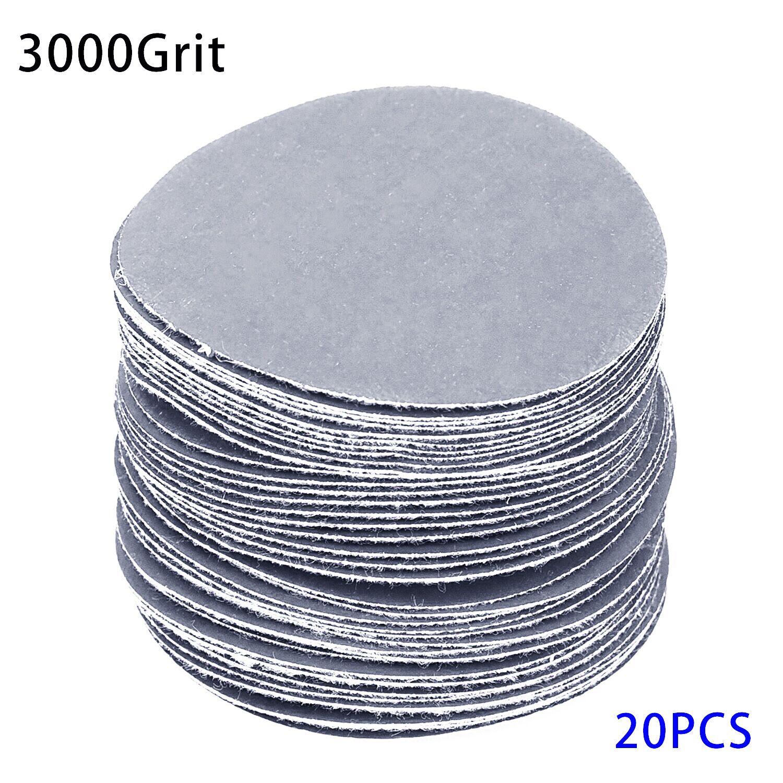 20pcs/Set 75mm 40-3000 Grits Wet Dry Sandpapers Adhesive Loop Backing Sander Grinder Discs Replacement Abrasive Tools
