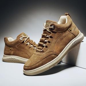 Image 5 - עור אמיתי באיכות גבוהה נעלי גבר חורף גברים נעליים יומיומיות אופנה דירות תחרה עד אופנה סניקרס זכר נעלי גומי נעליים