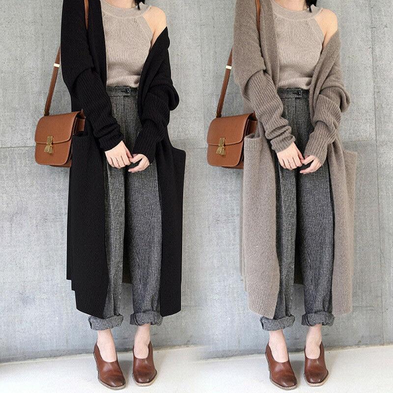 Women Winter Warm Knitted Cardigan Long Sweater Stretch Coat Outerwear Womens Winter Coats 2020 Fashion Sweater Women Pull Femme