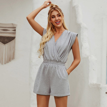 Women's Summer Grey Criss Cross V Neck Hollow Out Lace Up Short Jumpsuit Casual Loose Beach Rompers Party Playsuit 2020 New white v neck hollow out playsuit