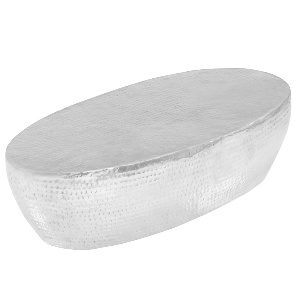 VidaXL Coffee Table Hammered Silver 100x50x28 Cm Aluminium