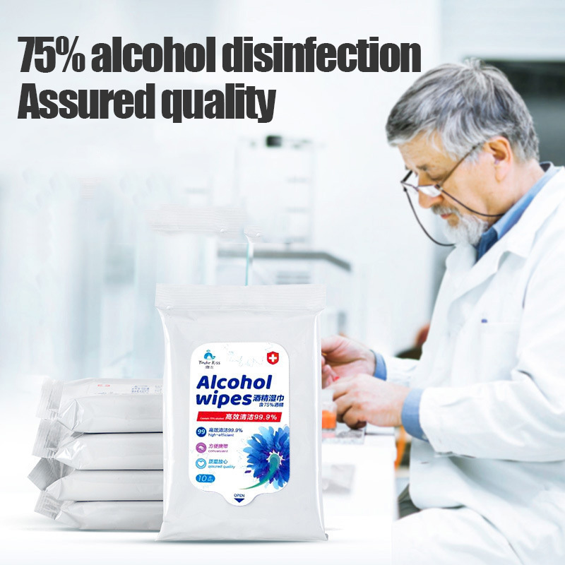 10Sheets Portable Disinfectant Wet Wipes 75% Alcohol Wipes Pads Skin Cleaning Care Sterilization Antiseptic Disposable Wet Pads