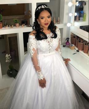 2020 Wedding Dress long sleeve one neck lace white ivory tulle bridal gowns boat neck novias vestidos de noiva appliques lace 1