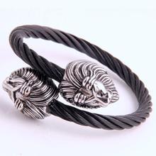 купить Unique Elastic Adjustable Gold Tone Lion Head Cuff Bangle in Black Stainless Steel Twisted Cable Bracelet for Men Jewelry дешево