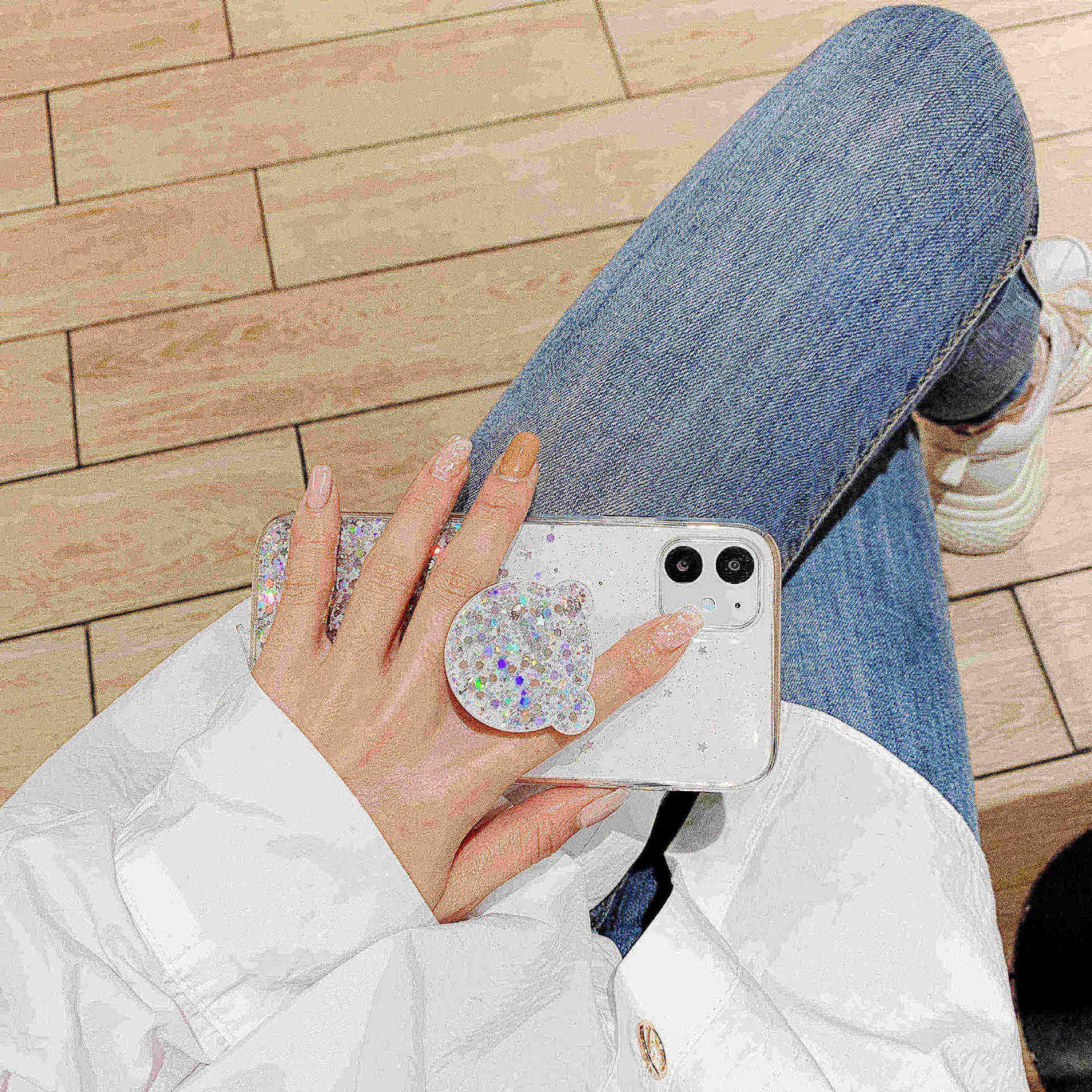 Bling glitter casos de telefone para iphone 11 caso 11pro max 7 8 plus x xr xs max estrela lantejoulas capa funda suporte panda urso orelha