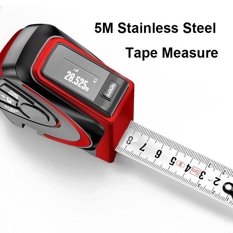 Gospodarstwa domowego 30m dalmierz laserowy 5m Autolock miarka z klipsem akumulator USB Laser linijka odległość obszar pomiar objętości