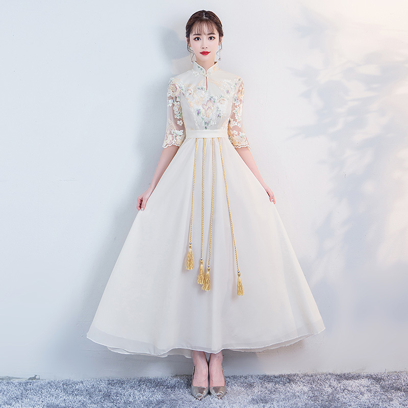 Champagne Exquisite Tassel Chongsam Women Elegant Full Length Qipao Classic Flower Prom Gown Vintage Button Robe De Soiree