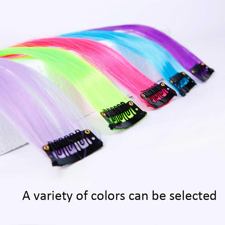 Gekleurde Haar Straight Clip In Een Stuk Lange 20Inches Gekleurde Hittebestendige Synthetische Uitbreiding Haar Regenboog Strand