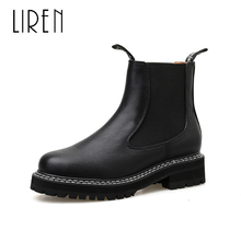 Liren 2019 Winter PU Ankle Boots Women Fashion Sexy Ankle Slip-on Boots Round Wrapped Toe Flat Low Heels Comfortable Boots round toe basic slip on suede flat ankle boots nubuck casual pleated khaki grayness comfortable women autumn winter shoes