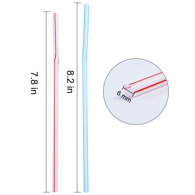 QDRR 300 Pack Disposable Straws Flexible Plastic Straws Striped Multi Color Rainbow Drinking Straws Bendy Straw Bar Accessories 4