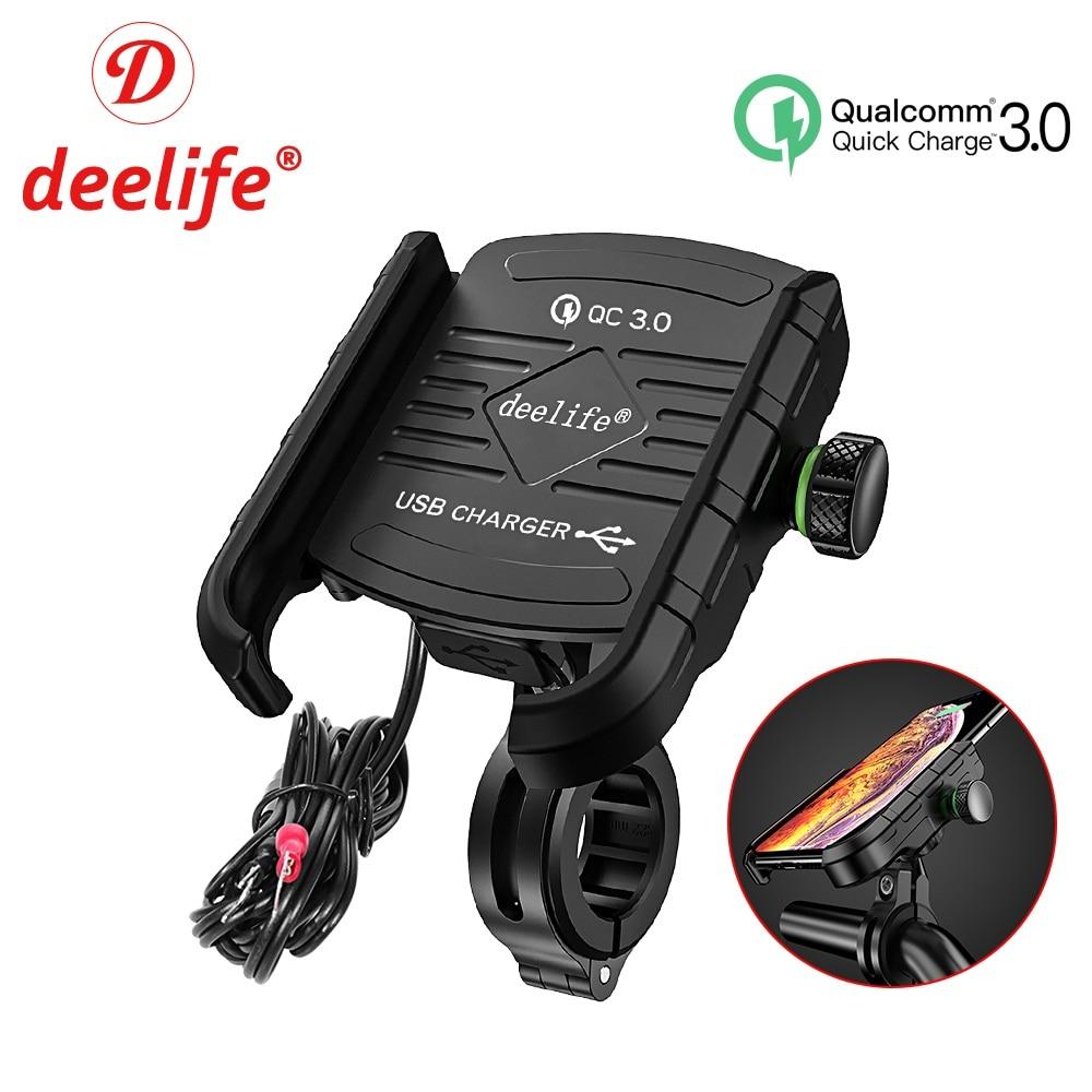 Deelife Motocicleta Mobile Phone Holder Mount Suporte Com Carregador USB QC 3.0 para Moto Espelho GPS Suporte Suporte Do Telefone Celular