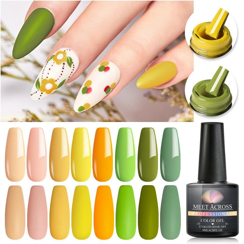 MEET ACROSS 8ml UV Gel Nail Polish Pink Green Color Gel Soak Off UV Gel Varnish Color Nail Gel Polish DIY Nail Art Lacquer