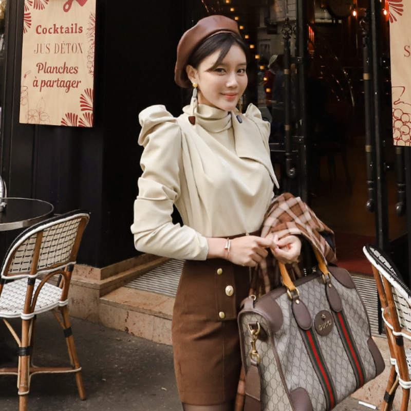 Autumn Puff Long Sleeve Stand Neck Women Blouse Shirt Mini Bodycon Brown Skirt Sexy Two Piece Suit Dresses
