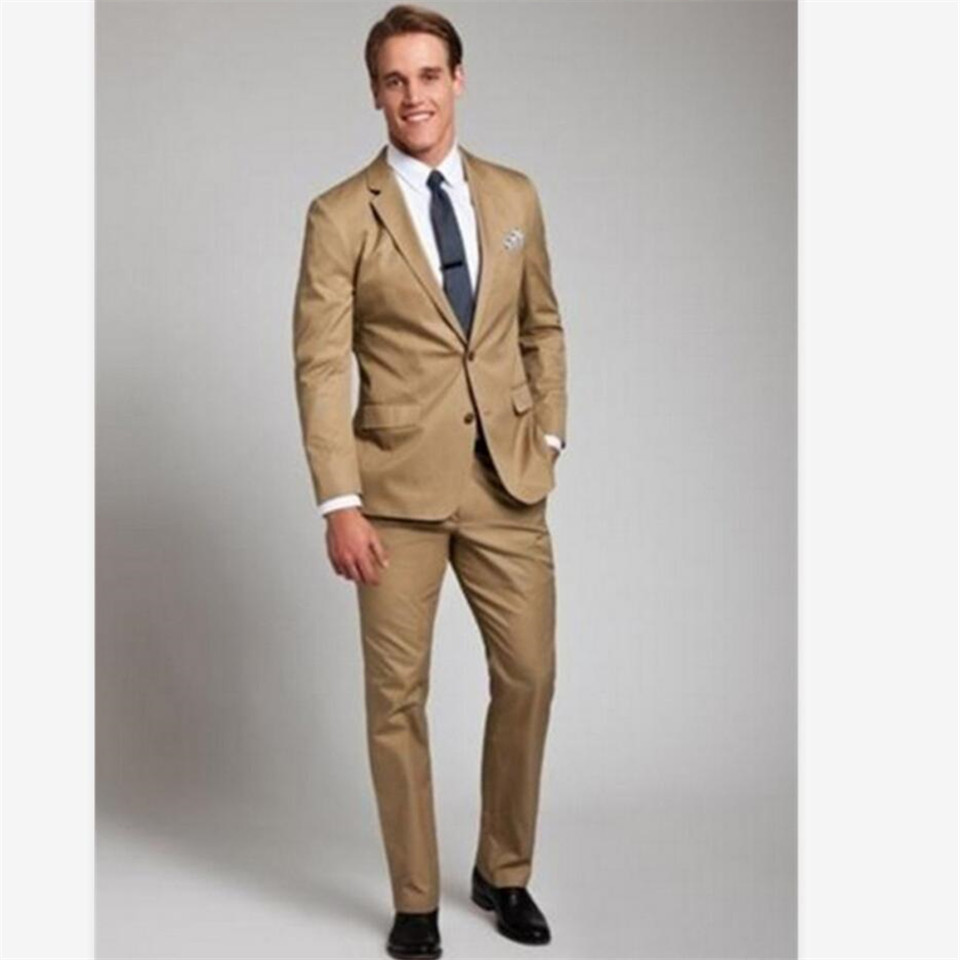 New Men's Suit Smolking Noivo Terno Slim Fit Easculino Evening Suits For Men Bridegroom Khaki Business Party Formal Prom