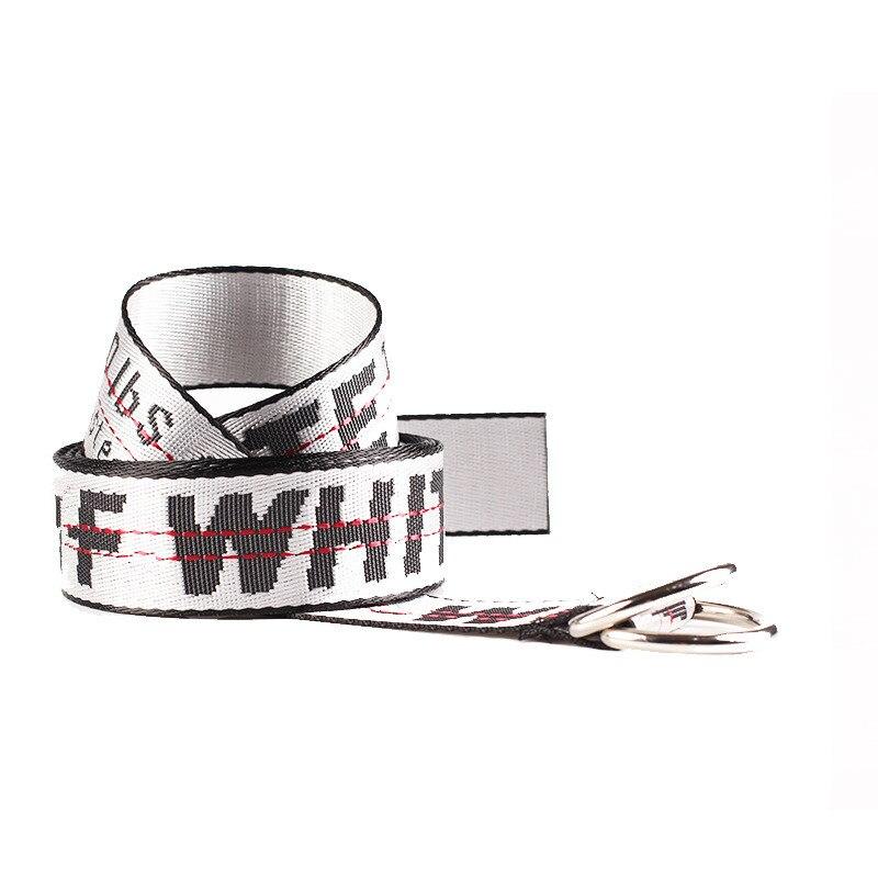 TagerWilen ремень стиль буквы напечатаны мода унисекс двойное D Кольцо холст ремень длинные джинсы ремни для женщин брезентовый мужской ремень - Цвет: Off-White
