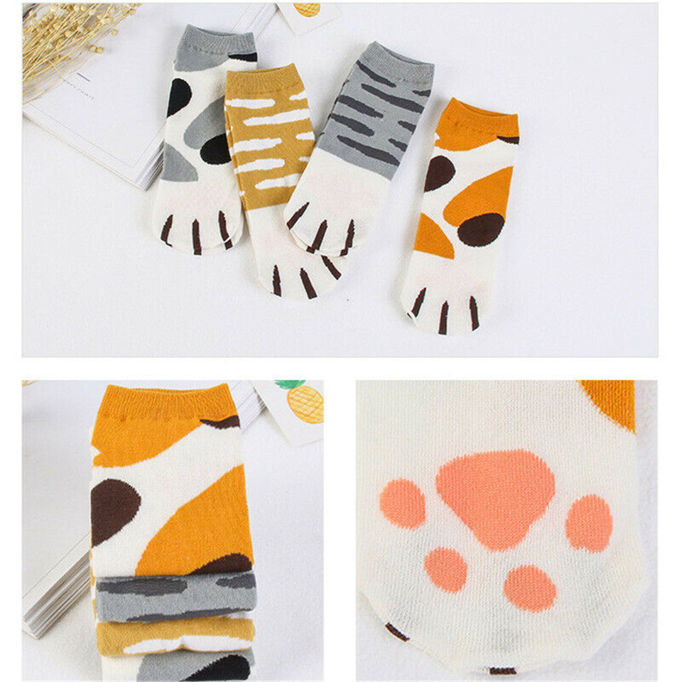 1Pairs Cute Cat Claws Socks Cotton Cats Ear Kitty Ankle Short Sock Funny Paw