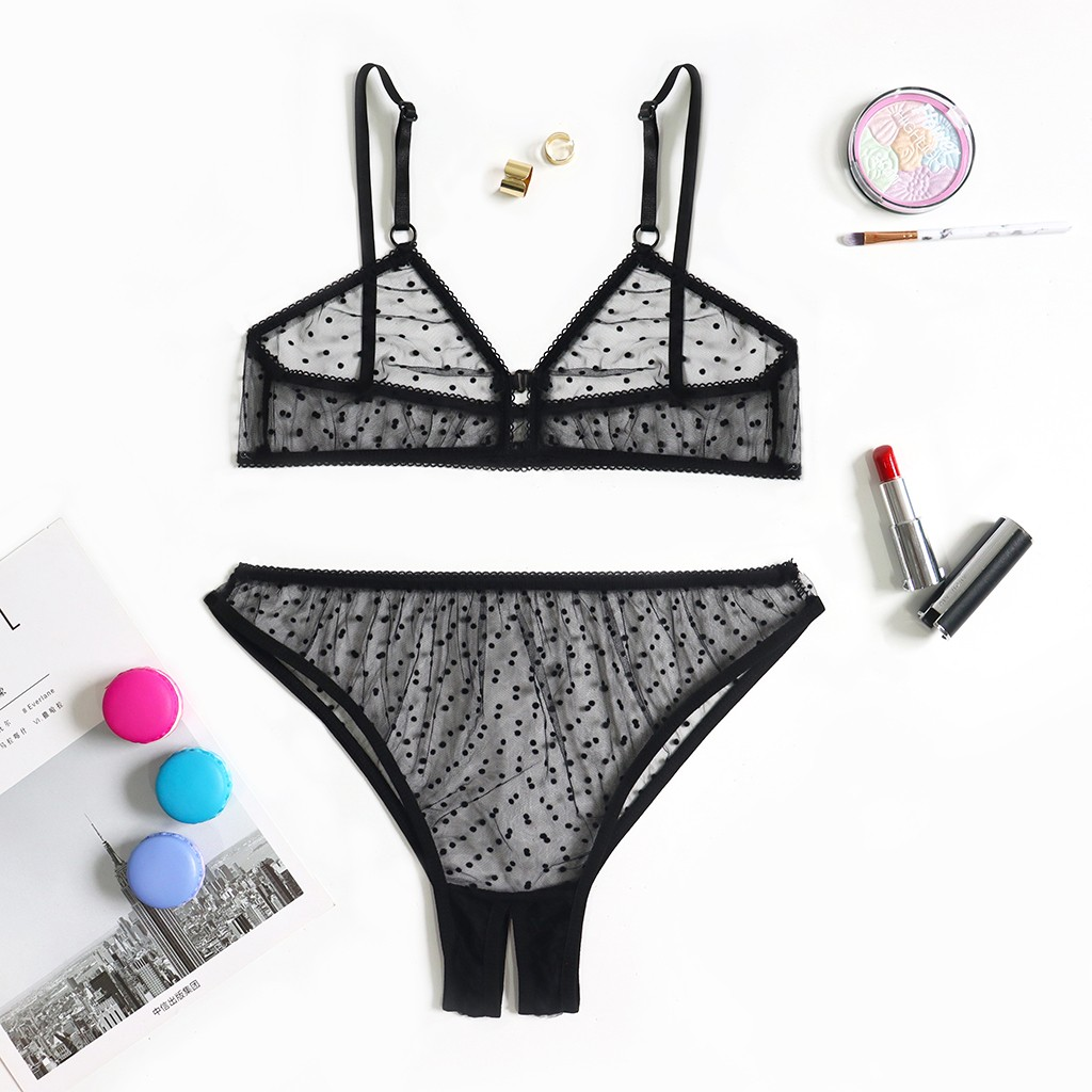 Women New Lingerie Set <font><b>Sexy</b></font> Dot Mesh Wireless Bra Open Crotch Thong Black Mesh Hollow Teddy 2020 Femme Lingerie Set <font><b>S</b></font>-XL <font><b>D</b></font> image