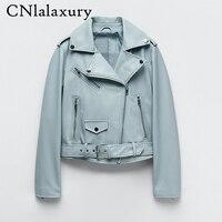2021 neue Frühling Herbst Frauen Blau Faux Leder Jacke Damen Solide Mit Gürtel Zipper Biker Mantel Weibliche Casual Outwear Veste femme