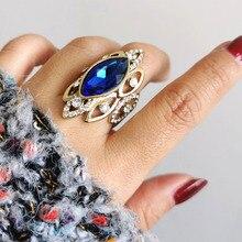 SINLEERY роскошный Африканский стиль синий кубический циркон большой челнок кольца для женщин размер 7 8 9 10 массивное Золотое кольцо Jz500 SSB