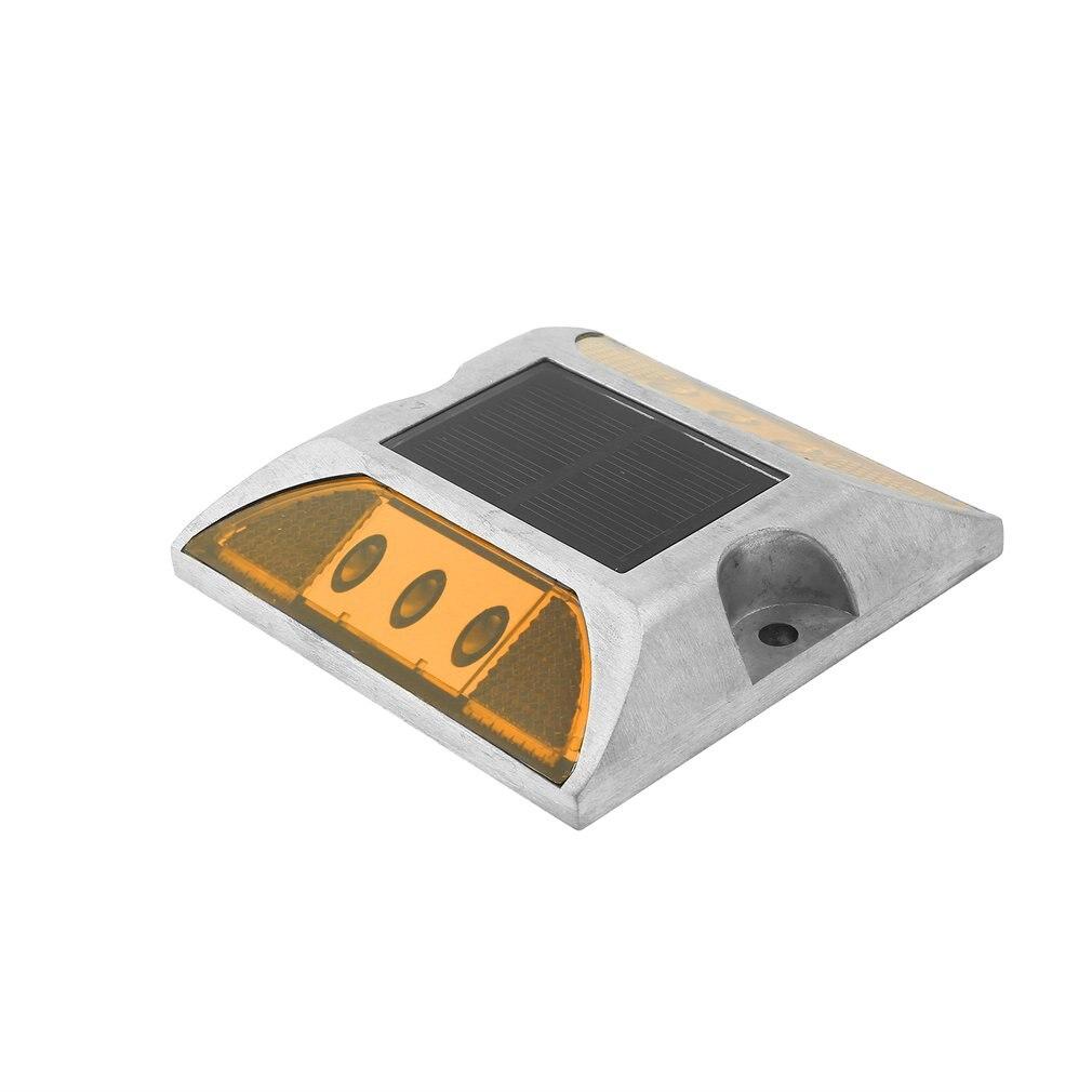 Aluminum Waterproof LED Solar Powered Road Stud Light Reflective Ground Light Path Deck Dock Warning Light  5  Colors 105*105*24