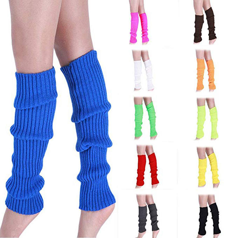 Womens Ladies Party Legwarmers Knitted Neon Dance 80s Costume 1980s Leg Warmers UV Tutu Set Skirt Gloves Legs