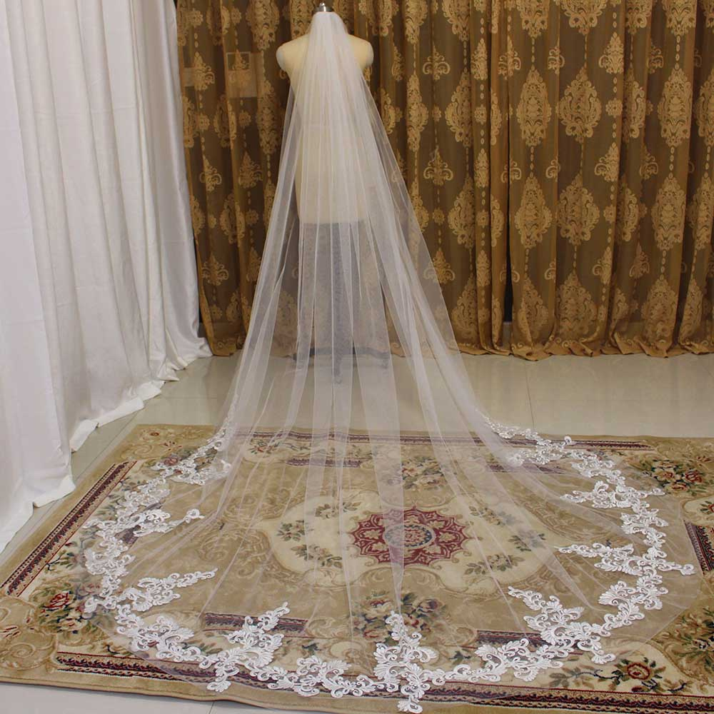 Long Lace Appliques Wedding Veil With Comb One Layer Cathedral Bridal Veil New 2020 Veil For Bride
