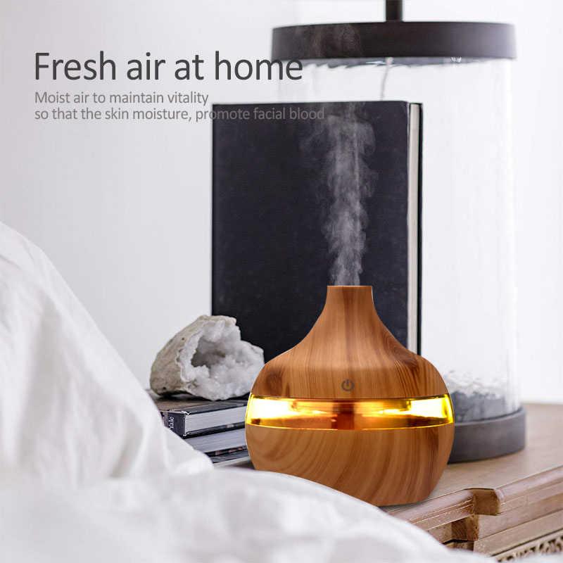 300ml AROMA Essential Oil Diffuser อัลตราซาวด์ไม้ความชื้นอากาศ USB MINI Mist Maker 7 ไฟ LED รถบ้าน