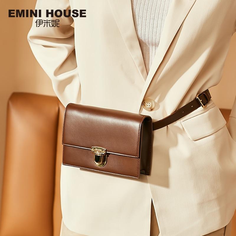 EMINI HOUSE Padlock Waist Packs Split Leather Crossbody Bags For Women Luxury Handbags Women Bags Designer Ladies Purse