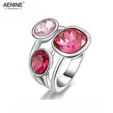 AENINE, классические обручальные кольца на палец, ювелирные изделия, золотой цвет, микро инкрустация кубическим цирконием, кольца для женщин, R150510240P