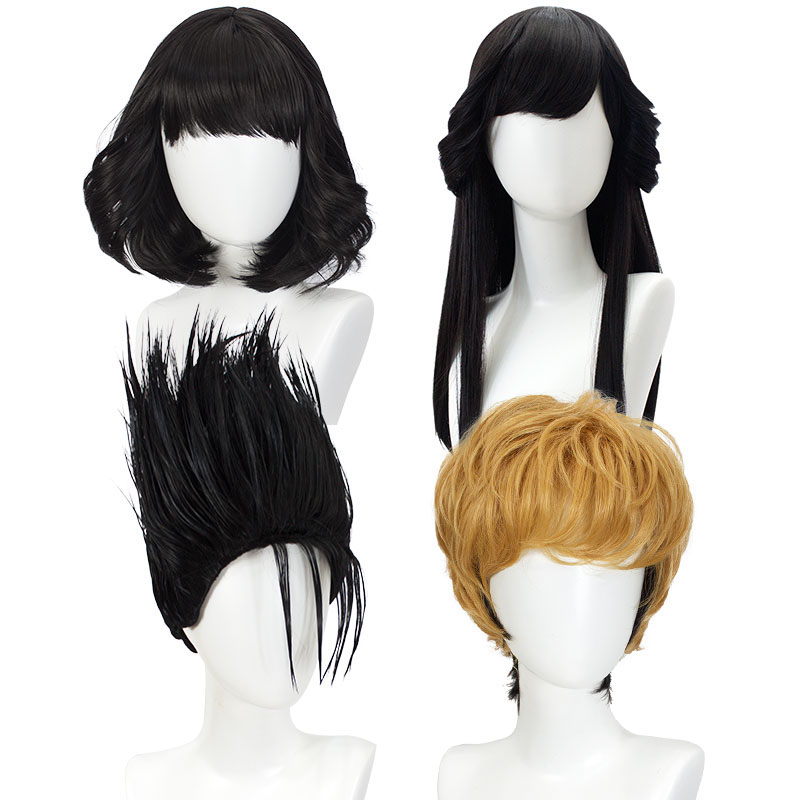 WEILAI Today's news Cosplay wig Yellow Gradient Black Short Hair Natural black sideburns hot roll High temperature fiber
