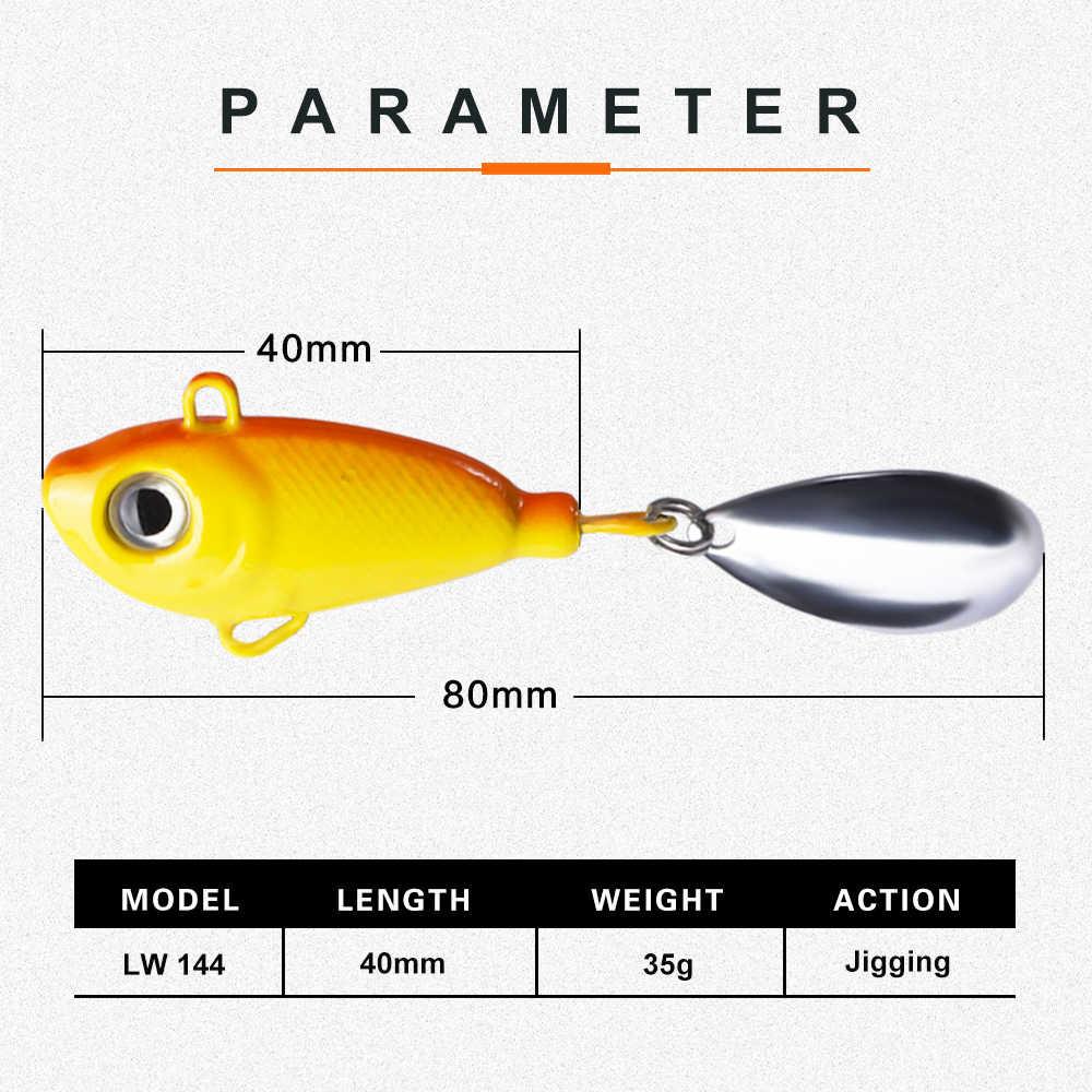 Hunthouse VIB JIGGING Umpan JIG Spinner Kepala Sendok 40 Mm 35G Spinnerbait Tenggelam untuk Memancing Pike Bass Hijau corol Peche