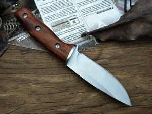 Image 3 - LCM66 ציד ישר סכין טקטי knifeFixed סכינים, פלדת ראש + מוצק עץ ידית הישרדות סכין, קמפינג הצלת סכין כלים