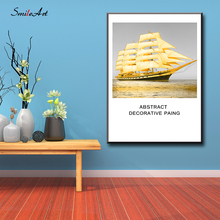 Colored Drawing Golden sailing Posters Canvas Wall Pictures For Living Room Home Decor cuadros