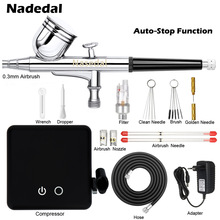 Nasedal Airbrush Compressor Auto Stop Functie Dual-Action Air Brush Set Spuitpistool Verstelbare Power Touch Switch