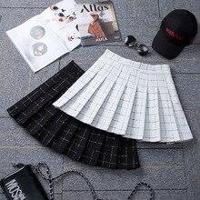Plaid Skirt Pleated Harajuku School-Girl Korean Plus-Size Sexy High-Waist Women Zipper