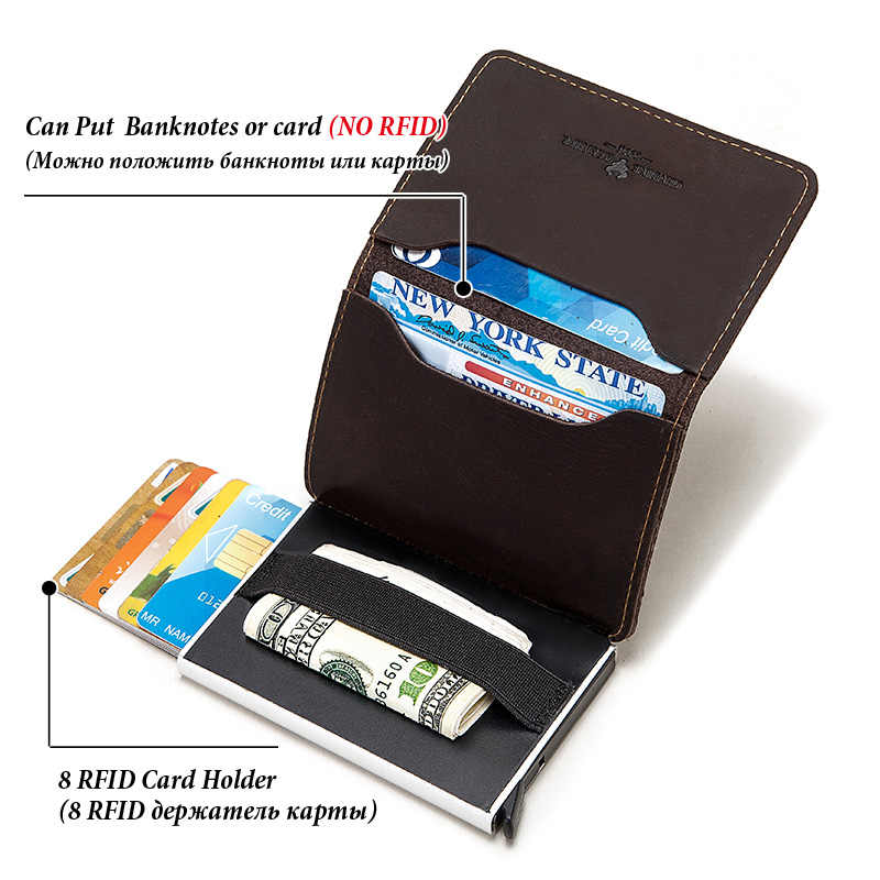 บัตรเครดิตผู้ถือกระเป๋าสตางค์โลหะ RFID VINTAGE อลูมิเนียมกระเป๋าอัตโนมัติ Crazy Horse หนัง Bank ผู้ถือบัตรกรณีใหม่ 2020