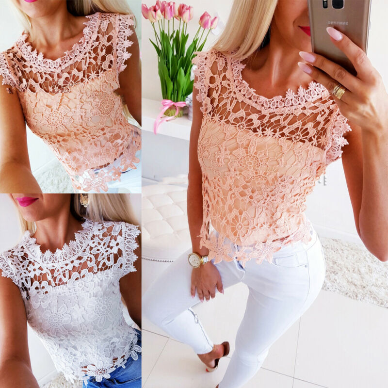 Women Ladies 2019 Summer Lace Patchwork Vest Top Sleeveless O Neck Lovely Fashion Casual Tops T-Shirt New