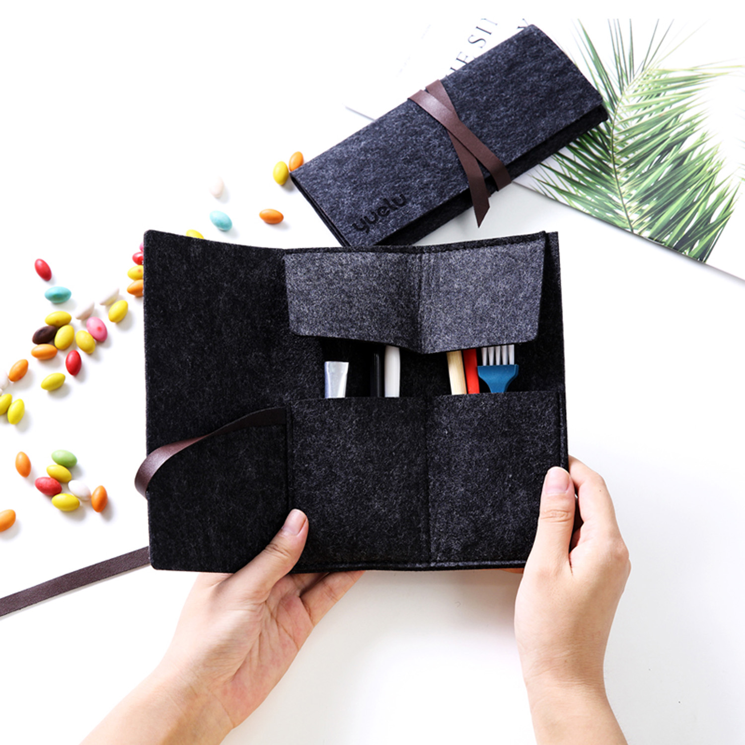 Fashion Foldable Felt Scraping Painting Art Tools Accessories Storage Bag Holder Pouch For Scraper Brush Pen Bamboo Sticks