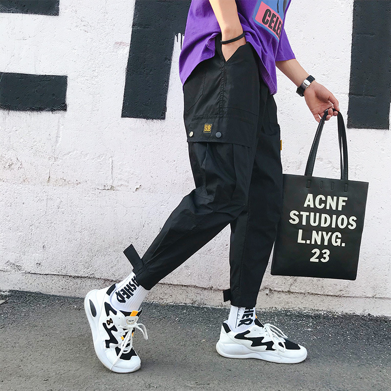 Multi-pockets Bib Overall Men's Popular Brand Ankle Banded Pants MEN'S Trousers Korean-style Trend Casual Versatile Loose-Fit Sk