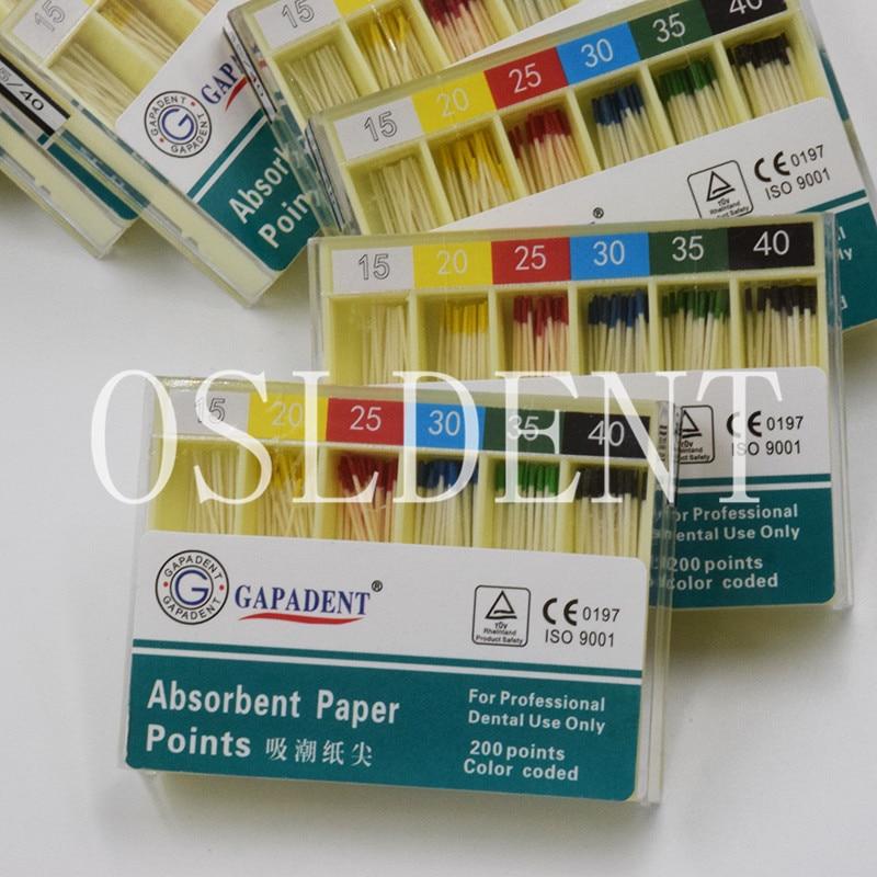 #15-40 200Pcs/Box Dental Gutta Percha Sterile Absorbent Paper Points Cotton Fiber Tips