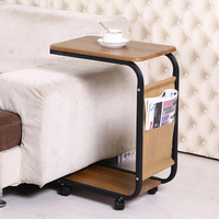 universal wheels sofa side table end table for office coffee table magazine pocket small movable table living room furniture