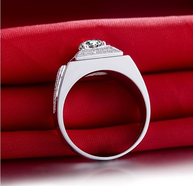 Test Positive Male Ring 14K White Gold 1Ct Jewelry 585 Gold Ring Luxury Moissanite Diamond Ring for Man Jewelry Engagement Ring