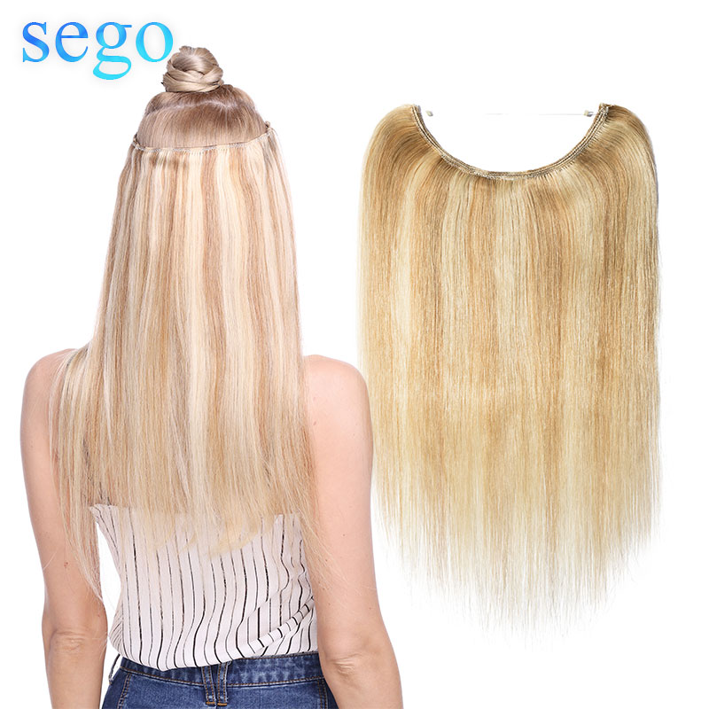 """SEGO 60g-80g 16""""-24"""" Invisible Wire Flip In Hair Extensions Straight Brazilian Non-Remy 100% Human Hair Weft Fish Line Hair"""