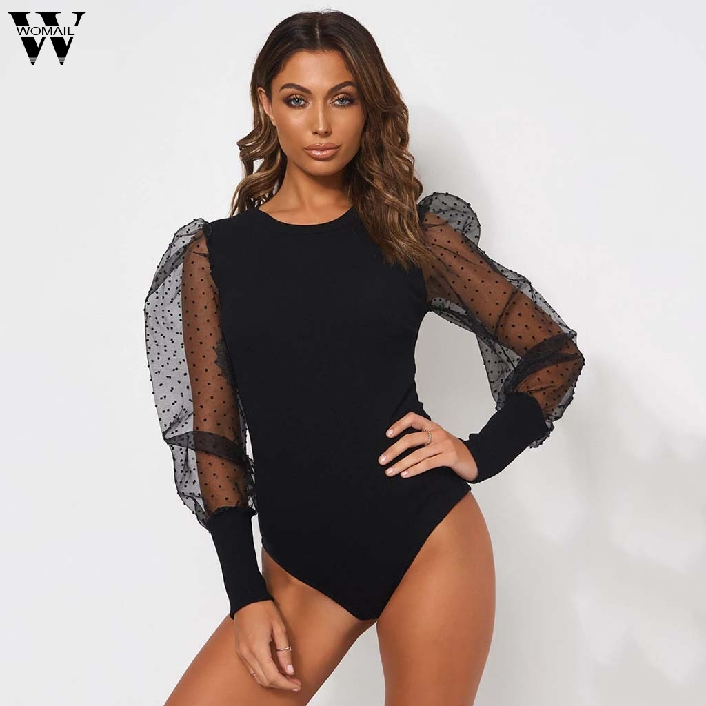 Womail Bodysuit Women New Summer Sexy Puff Sleeve Stitching Cami Bodysuit Back Mesh Long Sleeve Bodysuit Romper Short Club Party