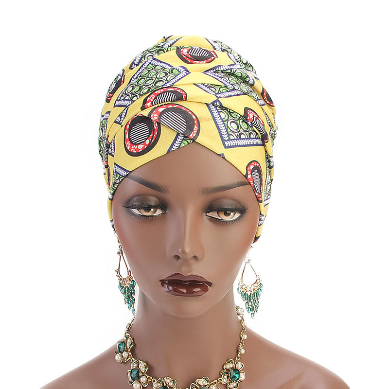 Women Cotton Elastic Head Scarf Turban Hat Boho Print Turban Hijab Caps African Turbans For Female Arab Wrap Head Scarves