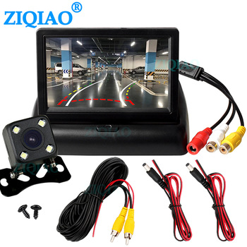 цена на ZIQIAO 4.3 TFT LCD Car Foldable Monitor Dynamic Camera Reverse Paking Camera For Parking Reverse Monitor System